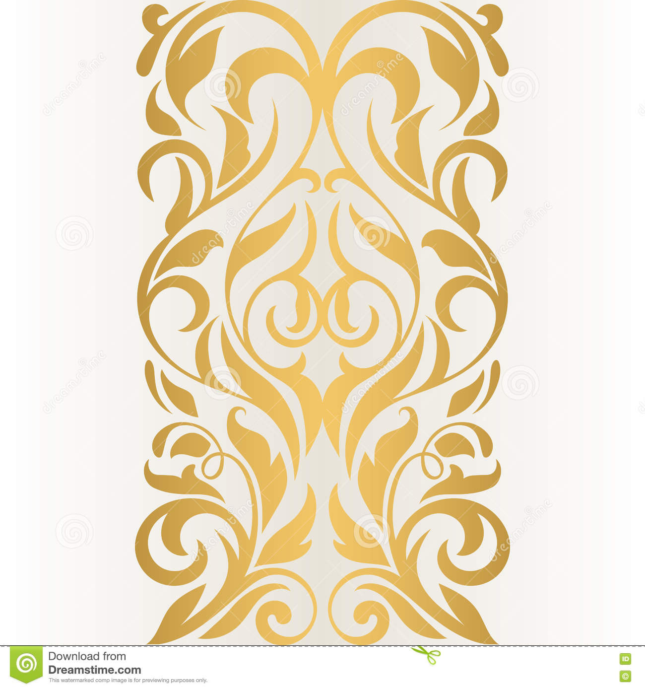 Golden Abstract Border On A Light Background  Vintage