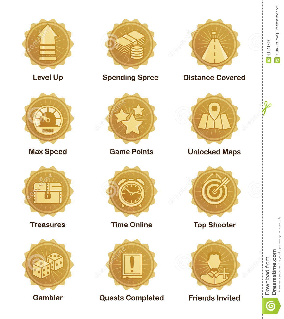 Golden achievement badges for shooter, runner, arcade game