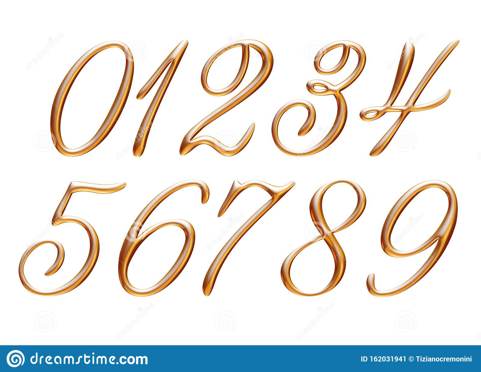 Golden Alphabet  Numbers 0 1 2 3 4 5 6 7 8 9  Metallic
