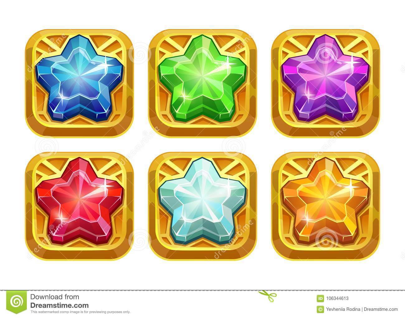 Golden Amulets With Colorful Crystal Stars  Stock Vector