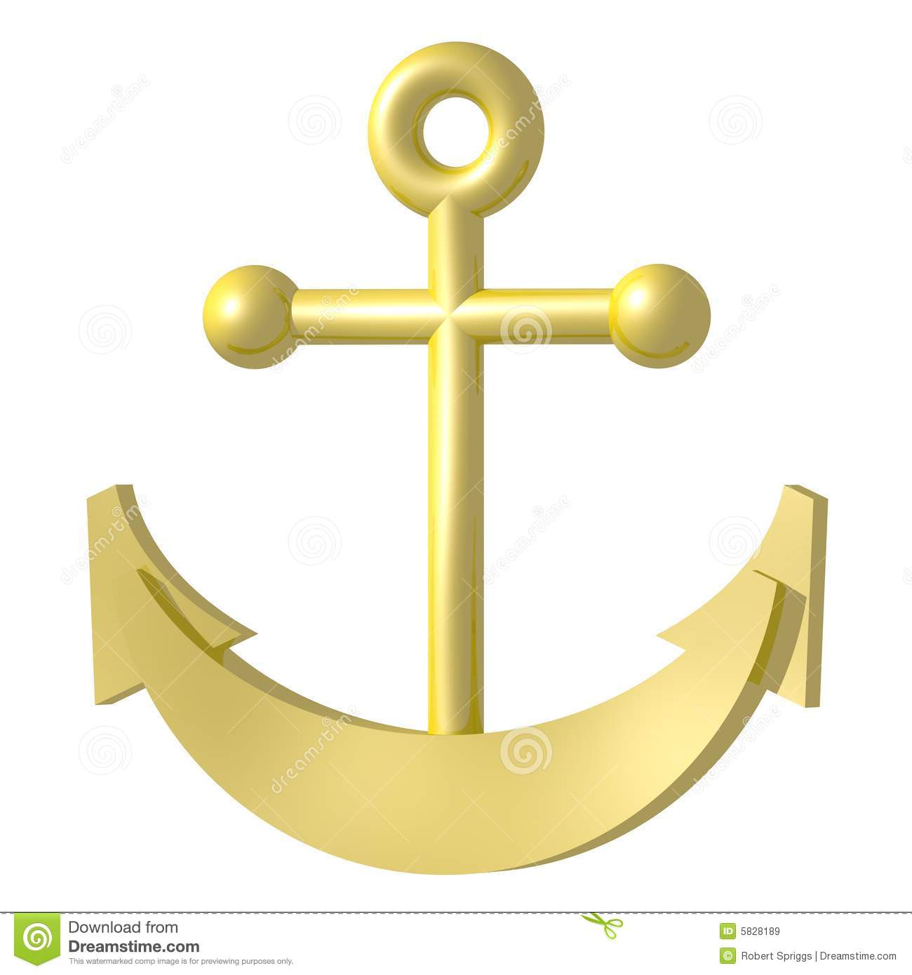 Golden Anchor Royalty Free Stock Images