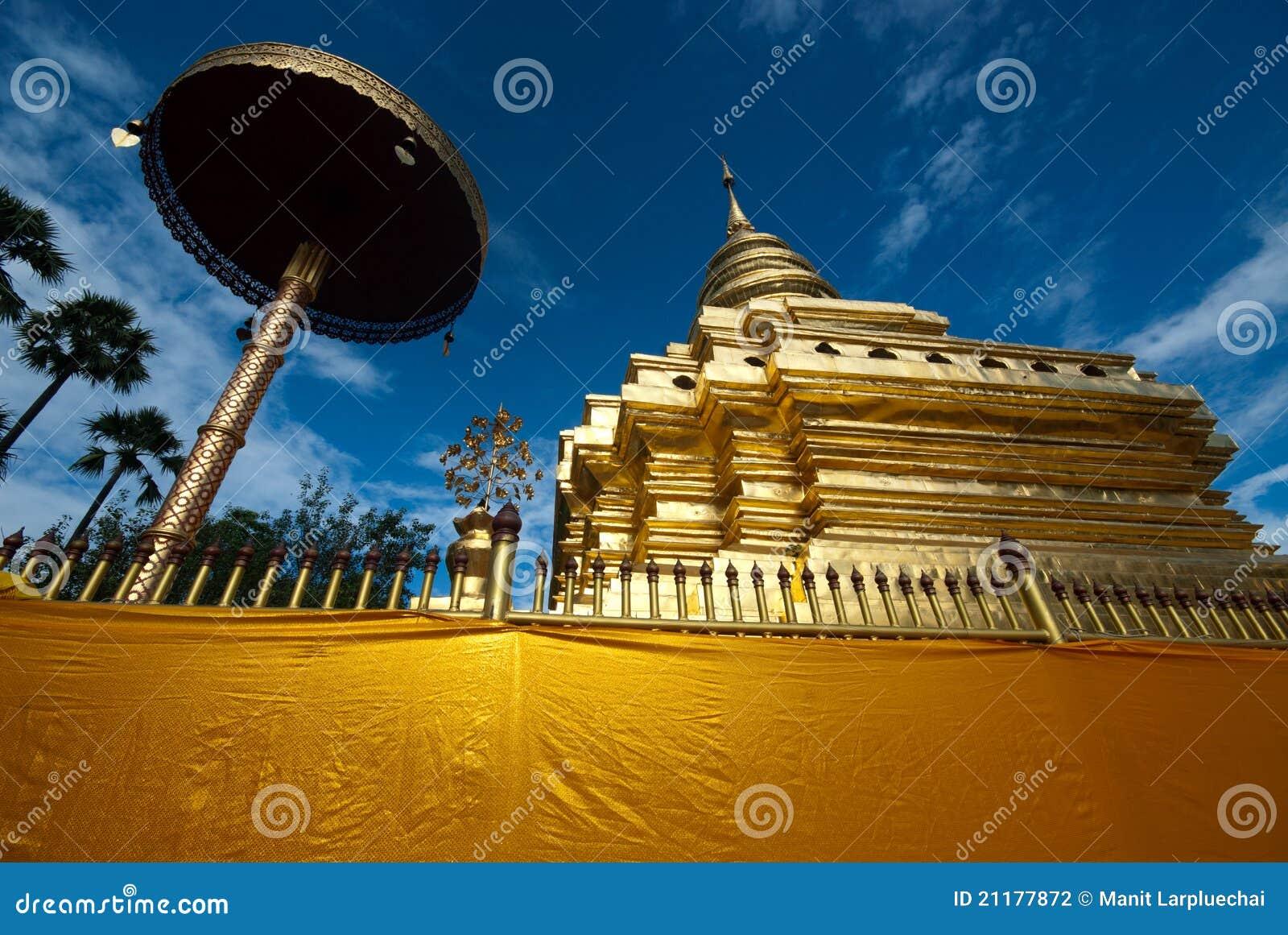 Golden ancient pagoda in Thailand .
