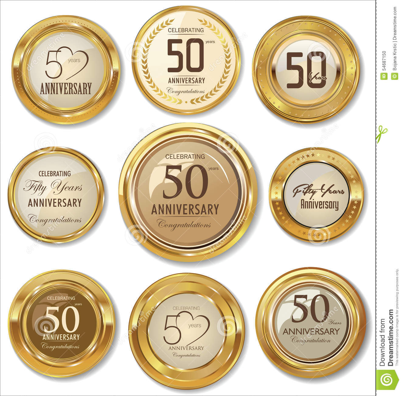golden anniversary labels 50 years stock illustration