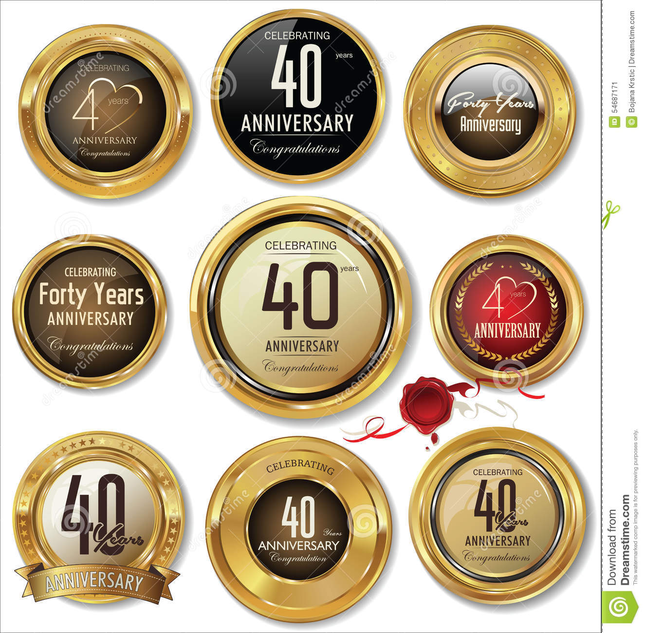 Golden anniversary labels 40 years stock illustration for Decoration 40 ans homme