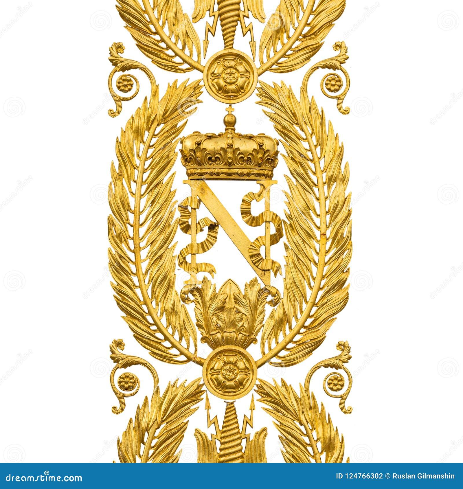 Golden Armorial bearings of Napoleon Bonaparte, gates on white
