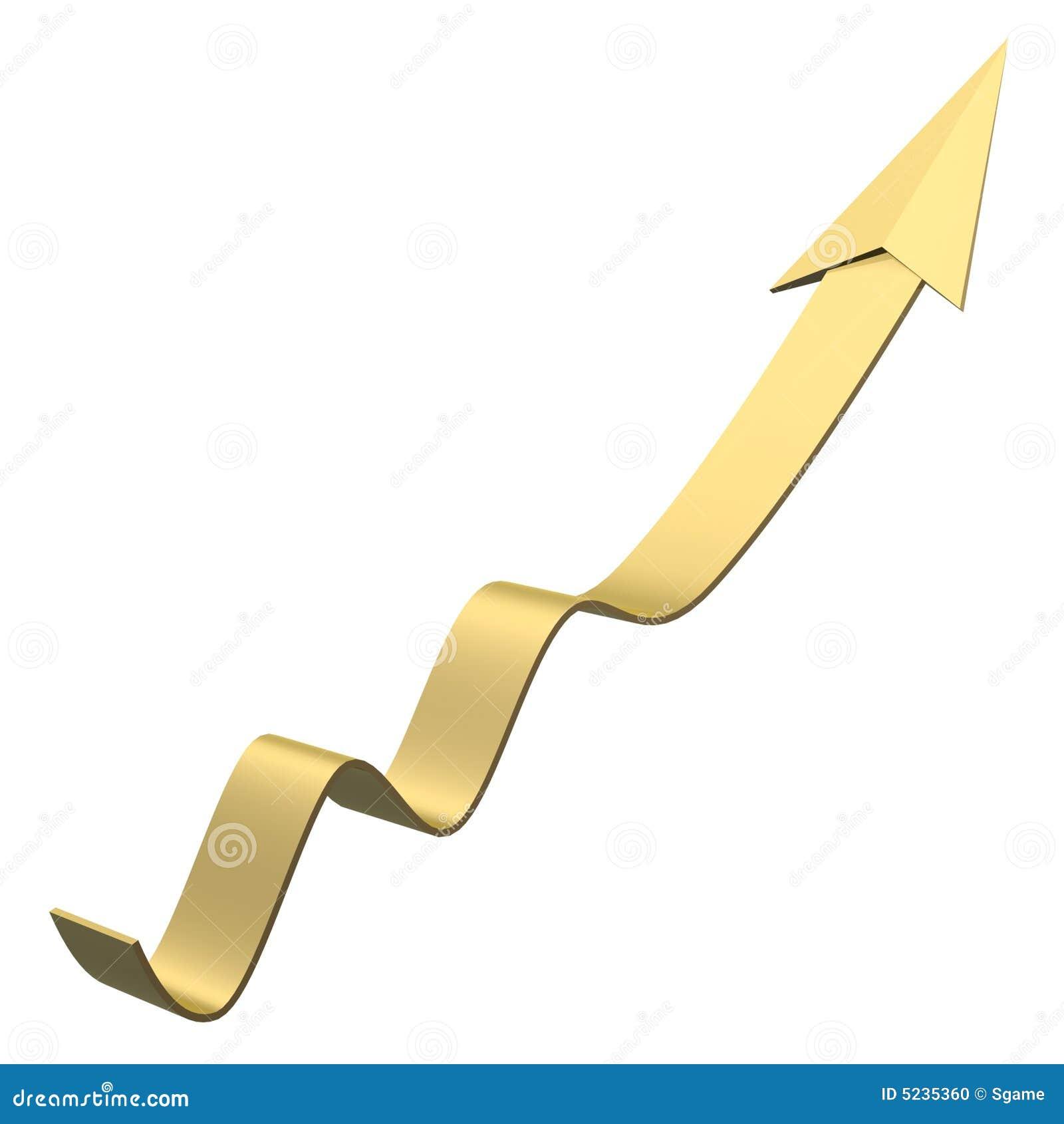 Golden Arrow Grow Up Stock Illustration Illustration Of