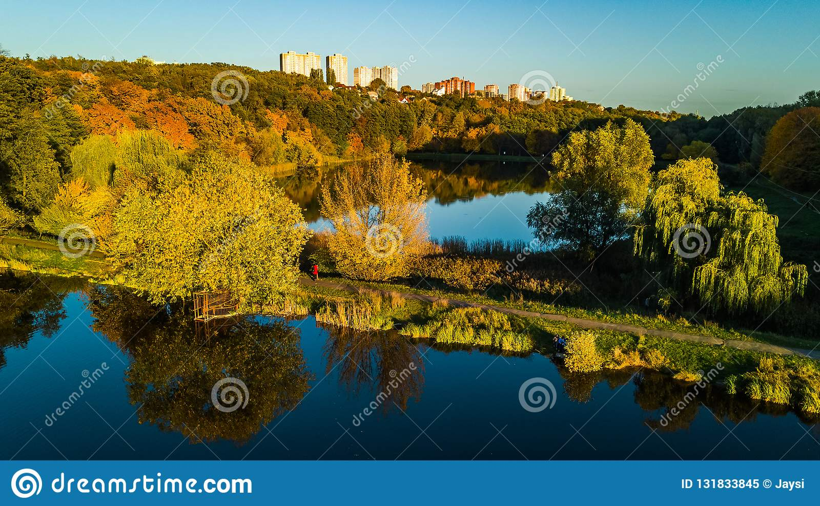 Golden autumn background, aerial drone view of forest with yellow trees and beautiful lake landscape from above, Kiev