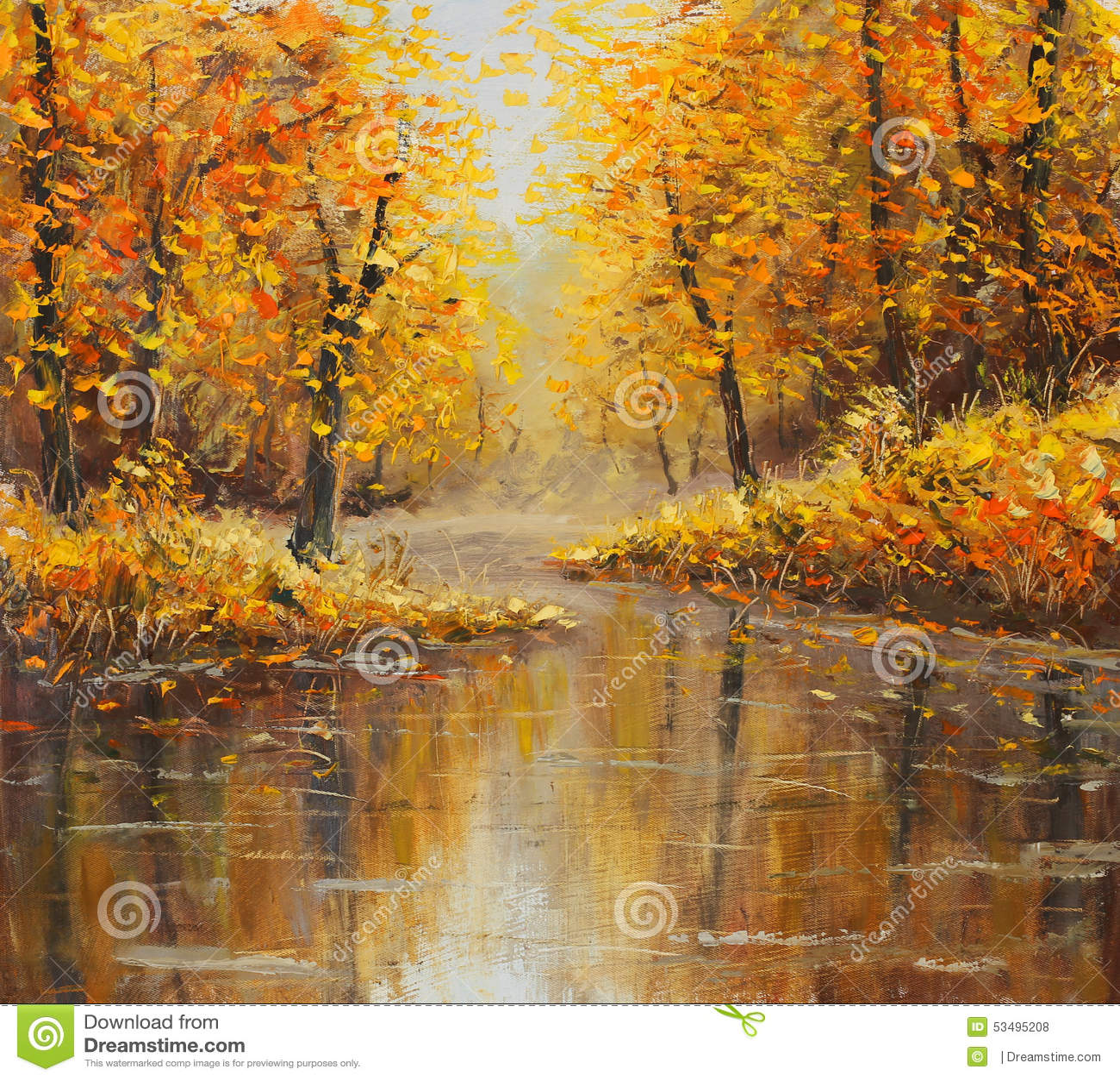 Golden autumn in river. Yellow oil painting. Art.