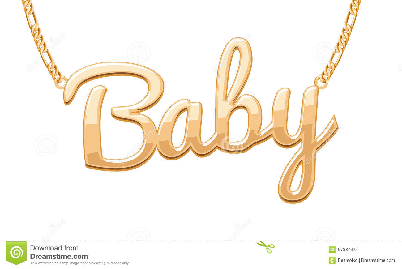golden baby word pendant on chain necklace stock vector baby girl clip art images diaper baby girl clip art images pink