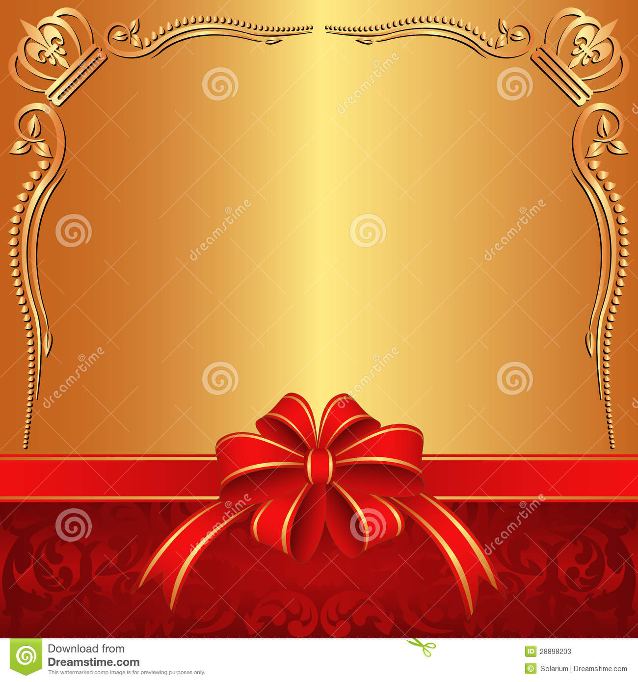 Decorative golden background with ribbon and bow.