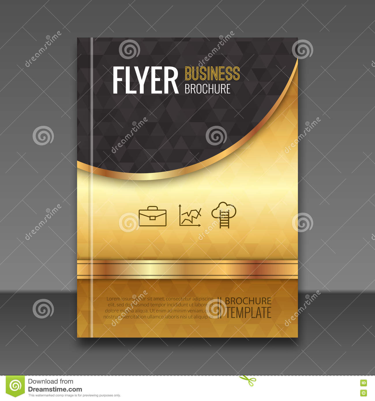 Book Cover Design Elements : Golden background flyer template luxury brochure book