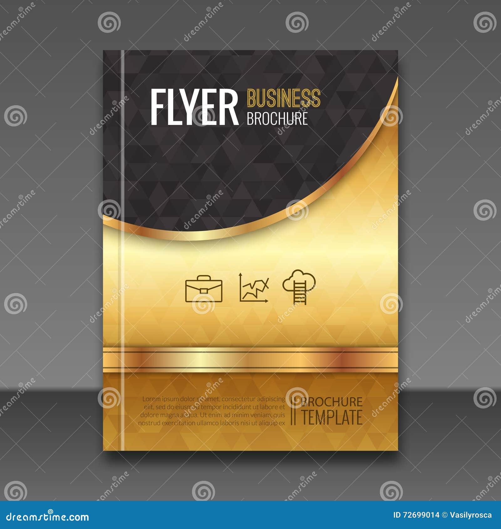 Book Cover Design Photo Elements : Golden background flyer template luxury brochure book