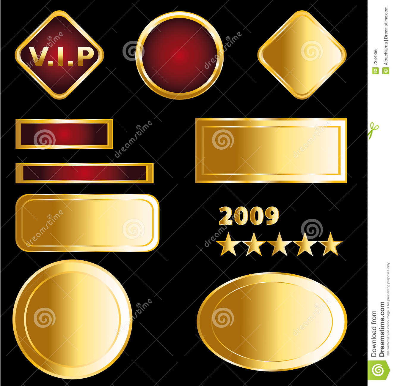 Golden badges and medals