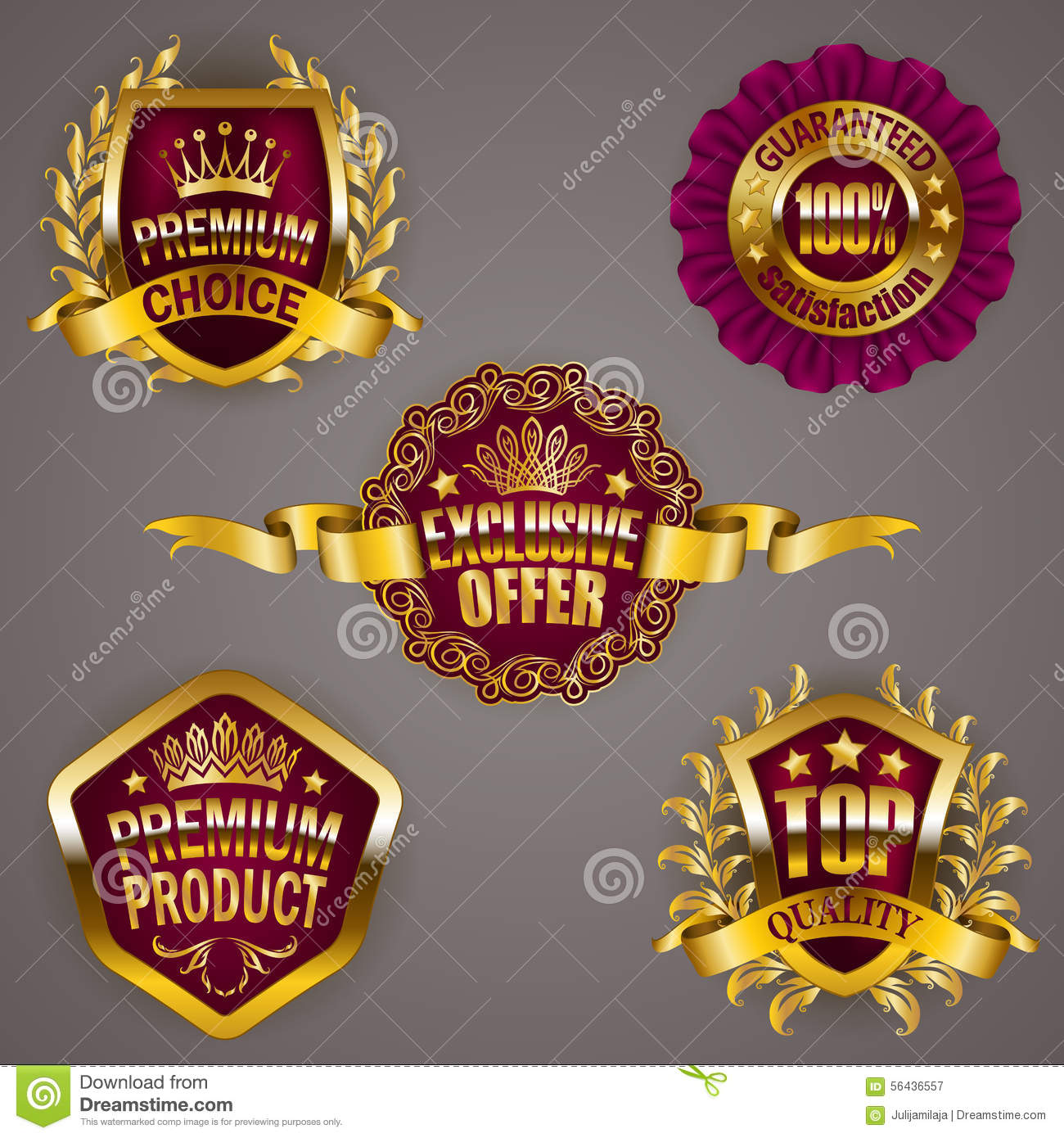 Set of luxury gold badges with crown ribbon exclusive offer premium product 100 percent top quality guaranteed promotion emblems icons labels medal