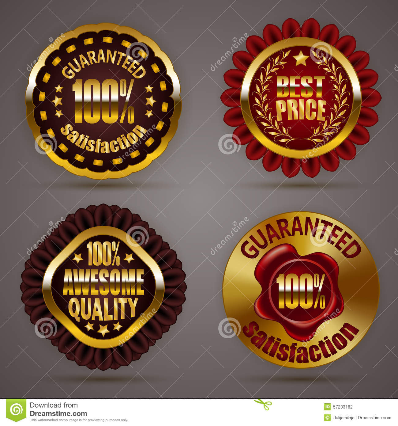 Set of luxury gold badges with stars laurel wreath wax seal 100 percent guaranteed awesome quality best price promotion emblems icons labels medal