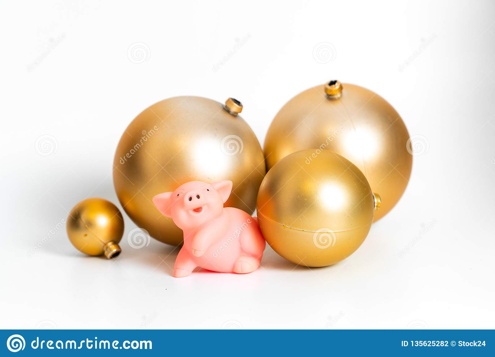 Golden balls pig Chinese New Year symbol traditional cultural zodiac calendar isolated