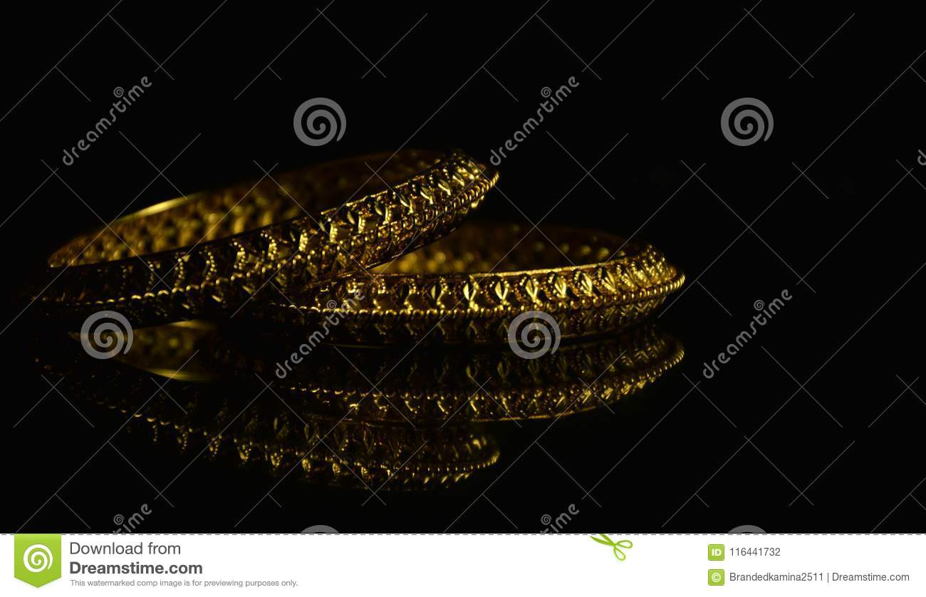 Golden bangles stock photo  Image of productphotography