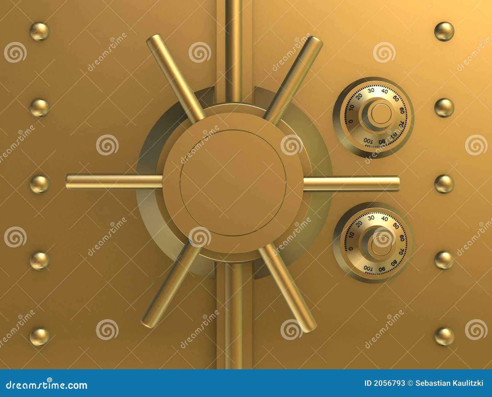 Golden Bank Safe Stock Illustration Illustration Of