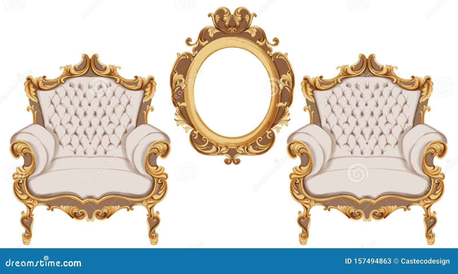 Golden Baroque Armchair Vector. Luxurious Furniture Design ...