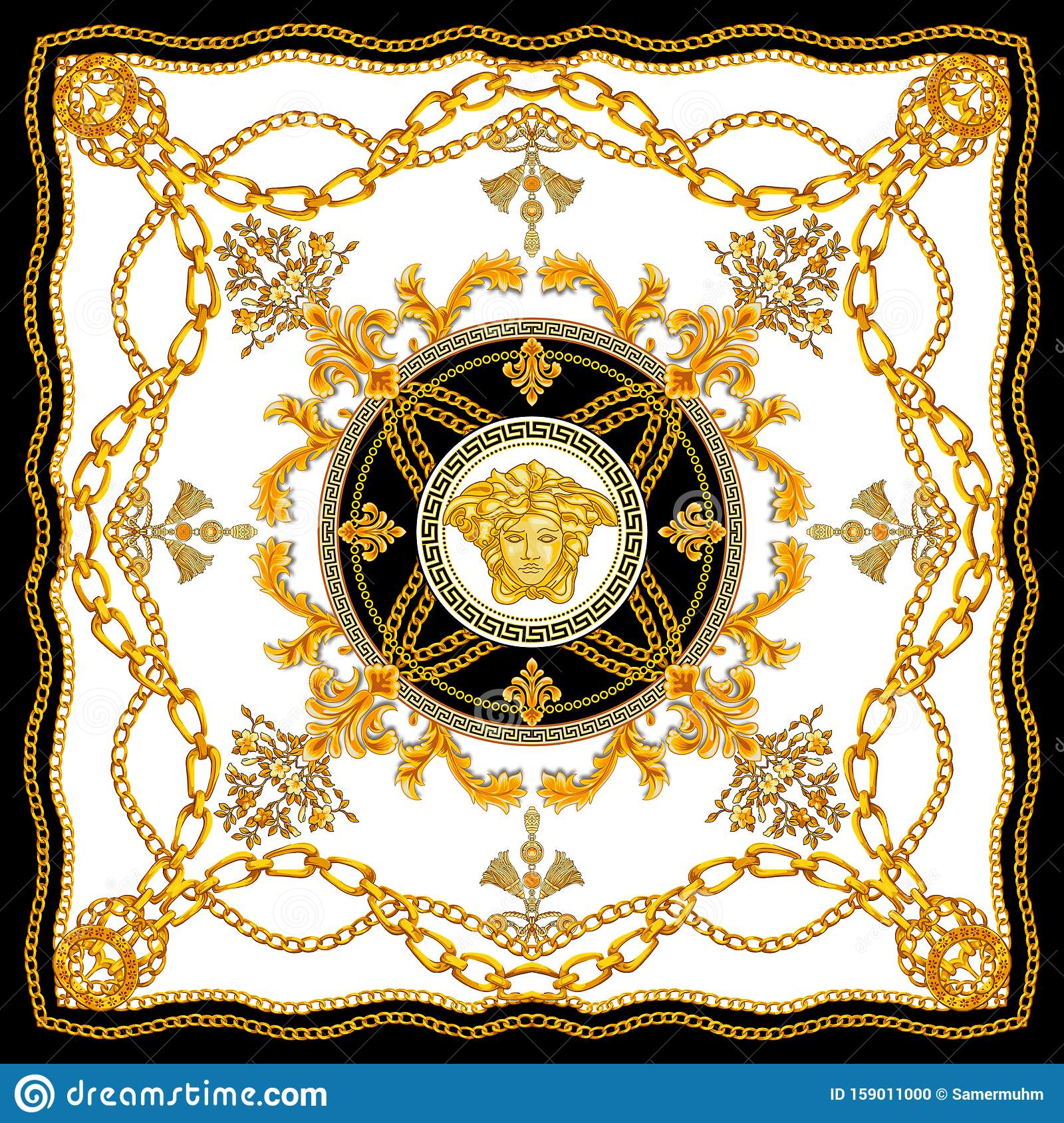 Golden Baroque With Chains On White Background Versace Style