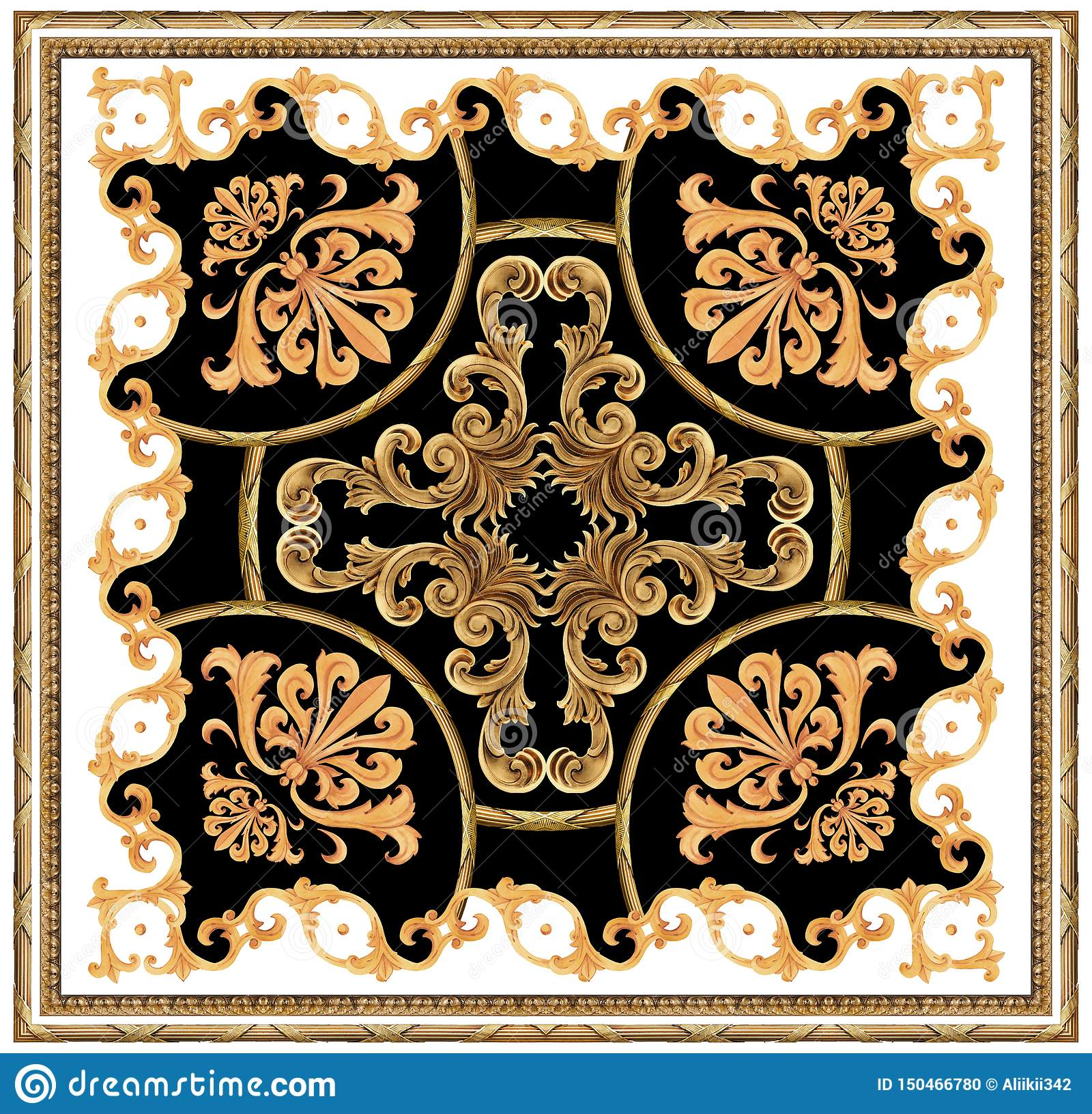 golden baroque ornament white black background scarf pattern