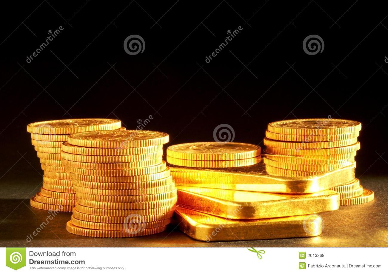 Golden bars and coins