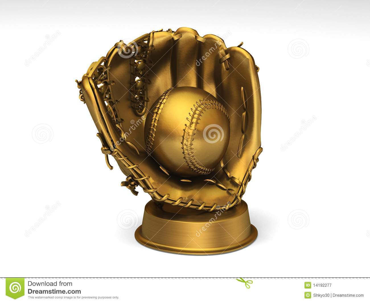 Golden Baseball Glove With A Ball Stock Image