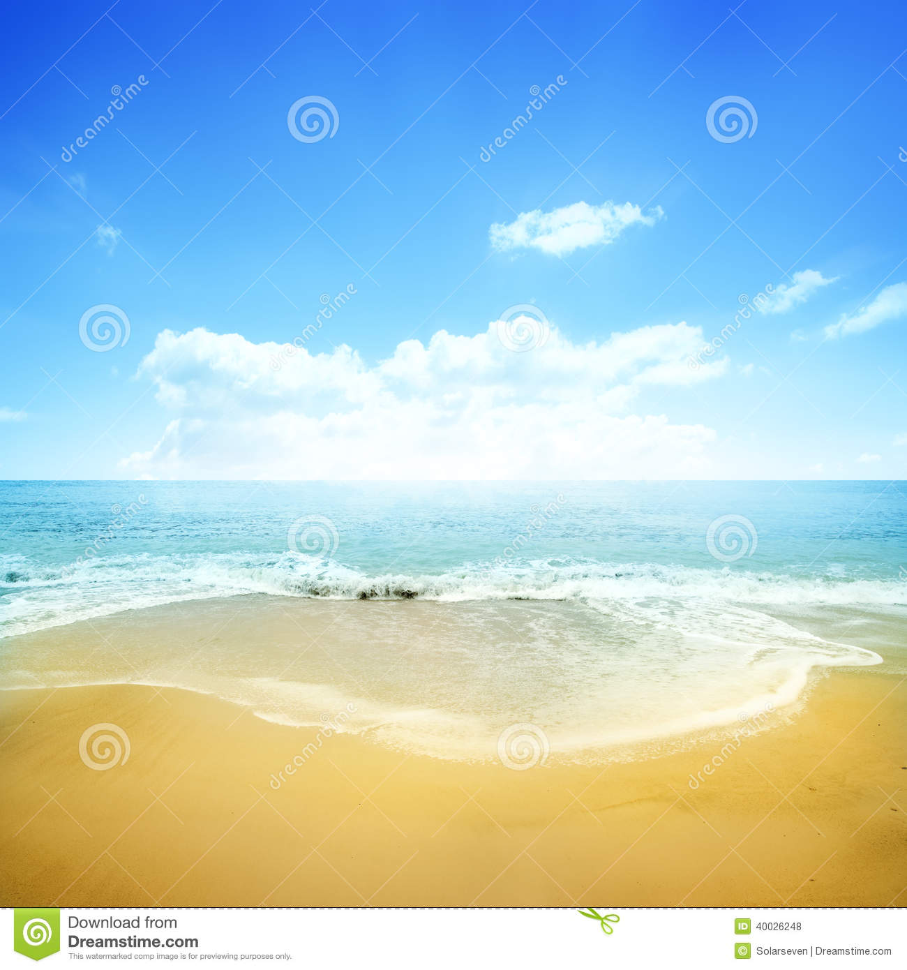 Sand Beach In Summer Sky Background: Golden Beach And Blue Sky Stock Photo. Image Of Sand