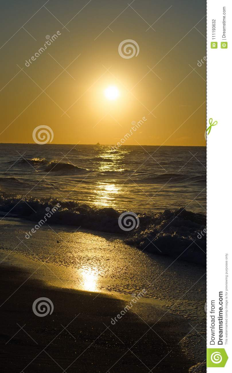 Golden Beach Sun Rise Stock Photo Image Of Clouds Ocean