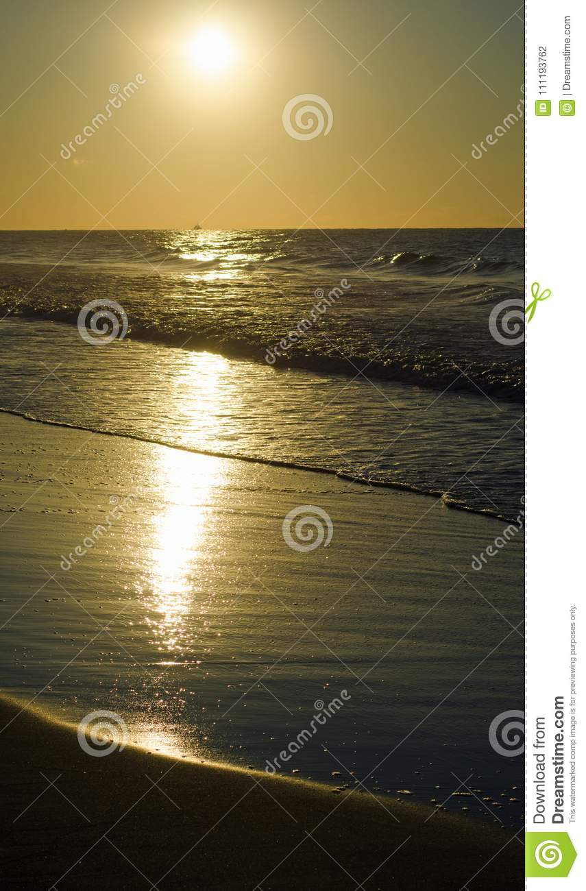 Golden Beach Sun Rise Stock Photo Image Of Ocean Waves