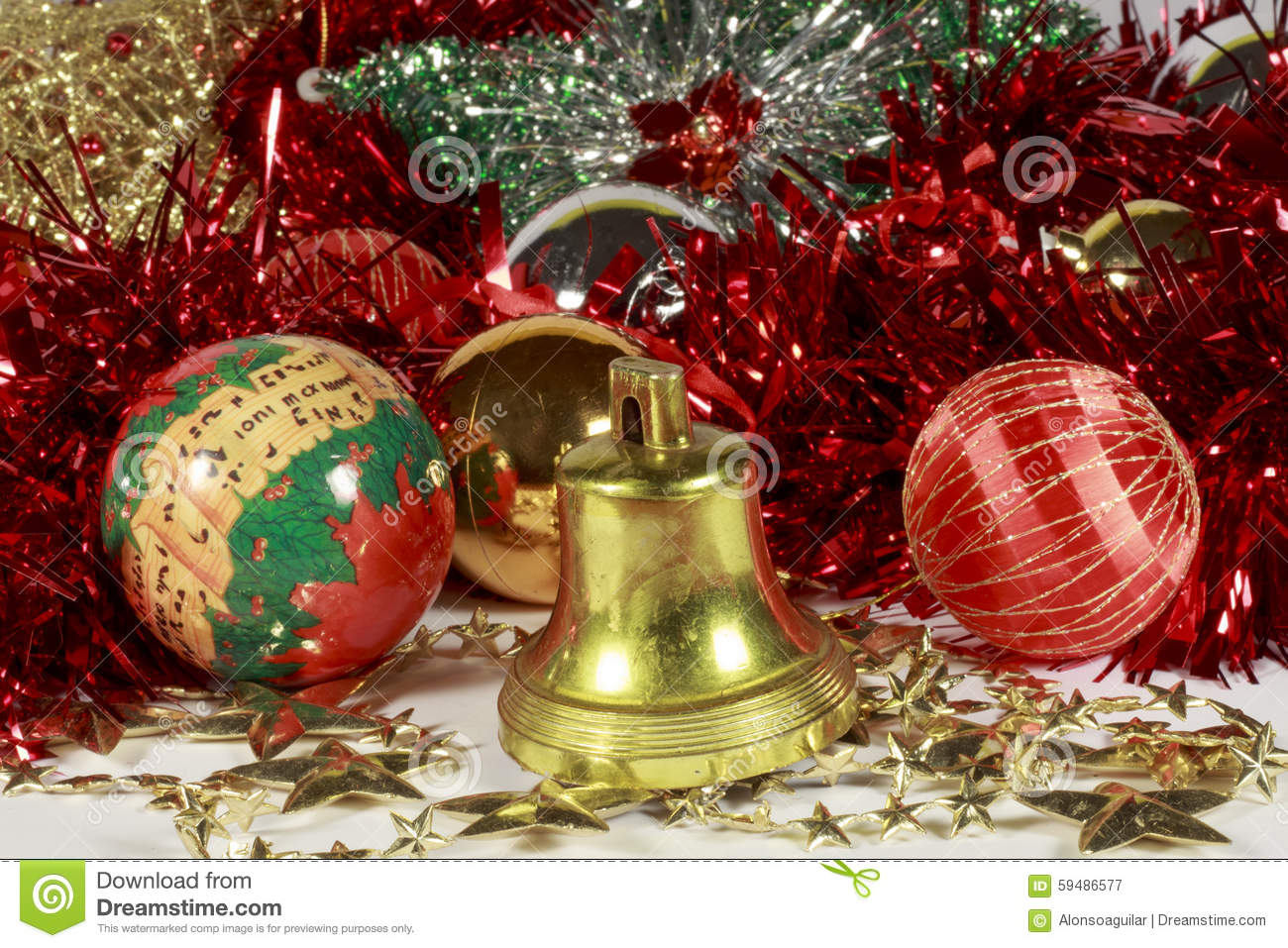 Golden Bell Stars Baubles And Other Christmas Decorations