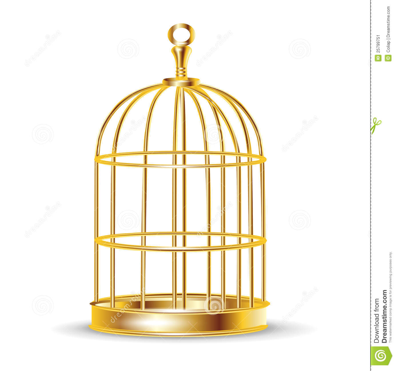 Golden bird cage stock vector. Image of trapped, shape