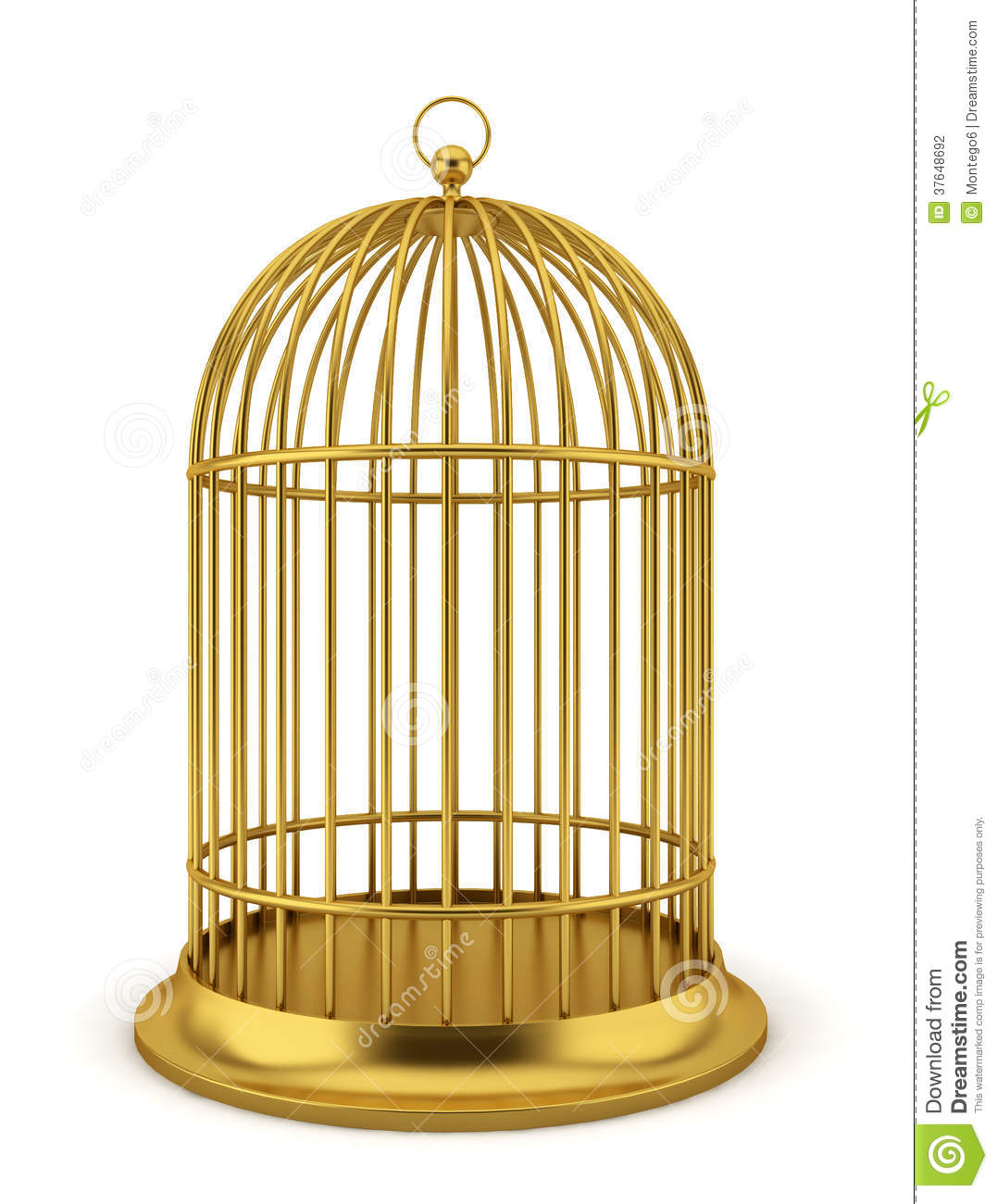 Golden Bird Cage Stock Photography Image 37648692