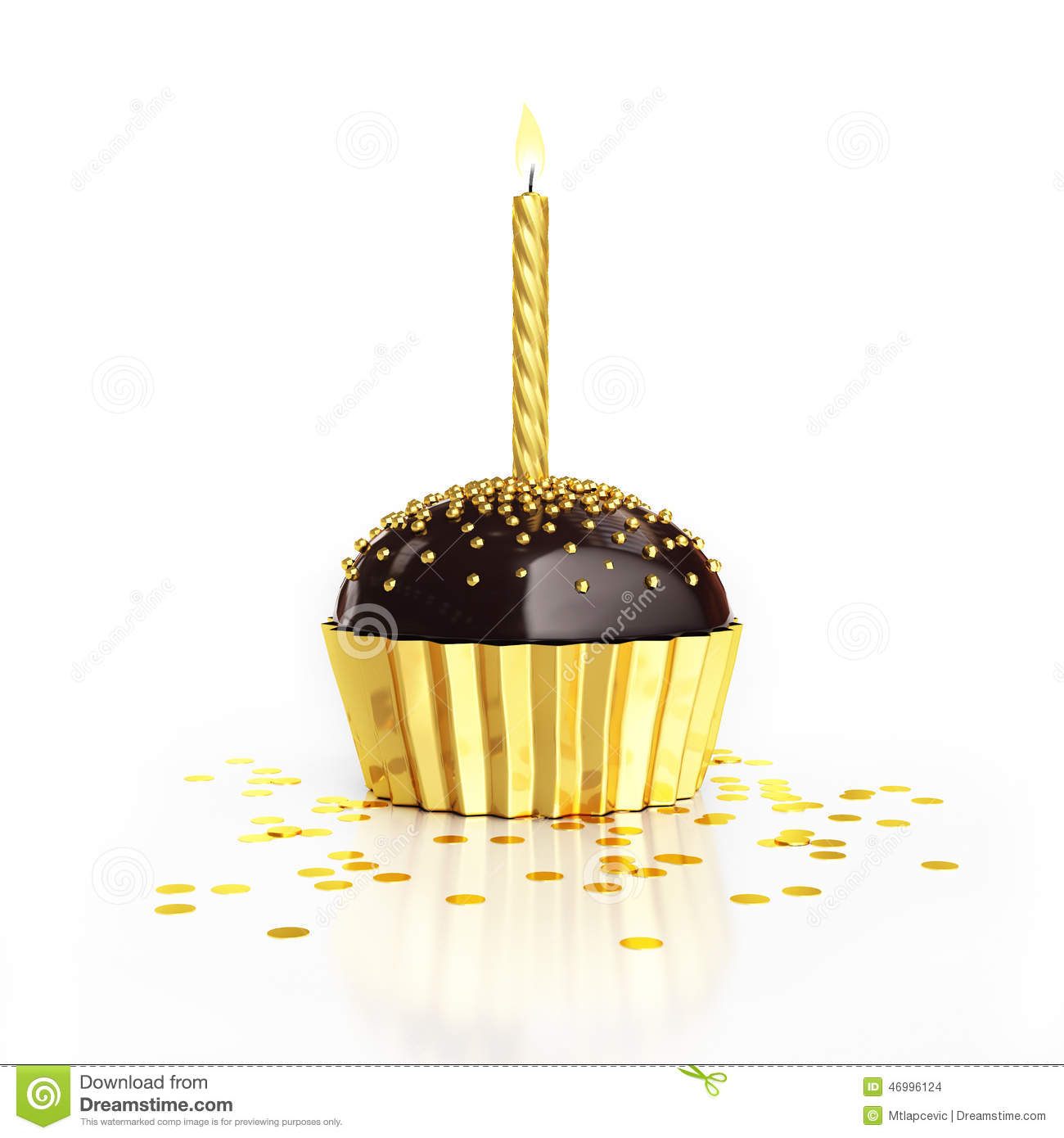 Golden Birthday Chocolate Cupcake With Candle And Confetti On White