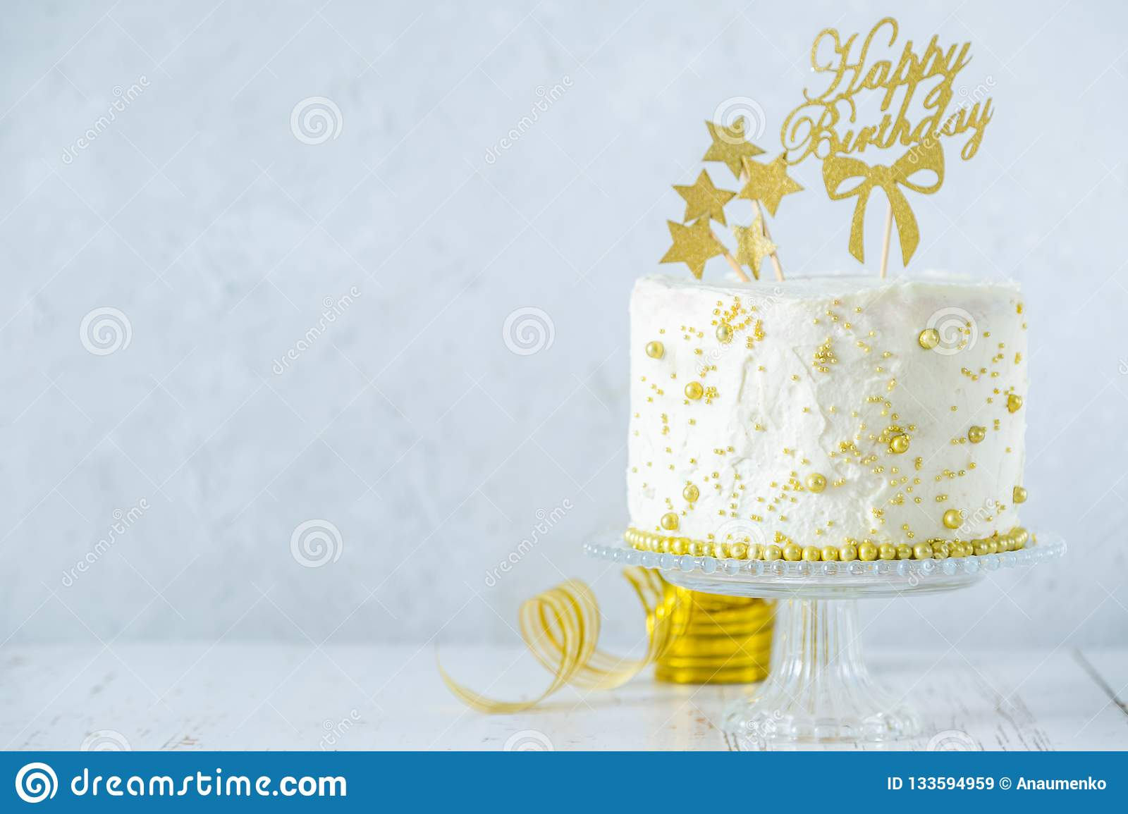 Astonishing Golden Birthday Concept Cake Presents Decorations Stock Image Funny Birthday Cards Online Alyptdamsfinfo