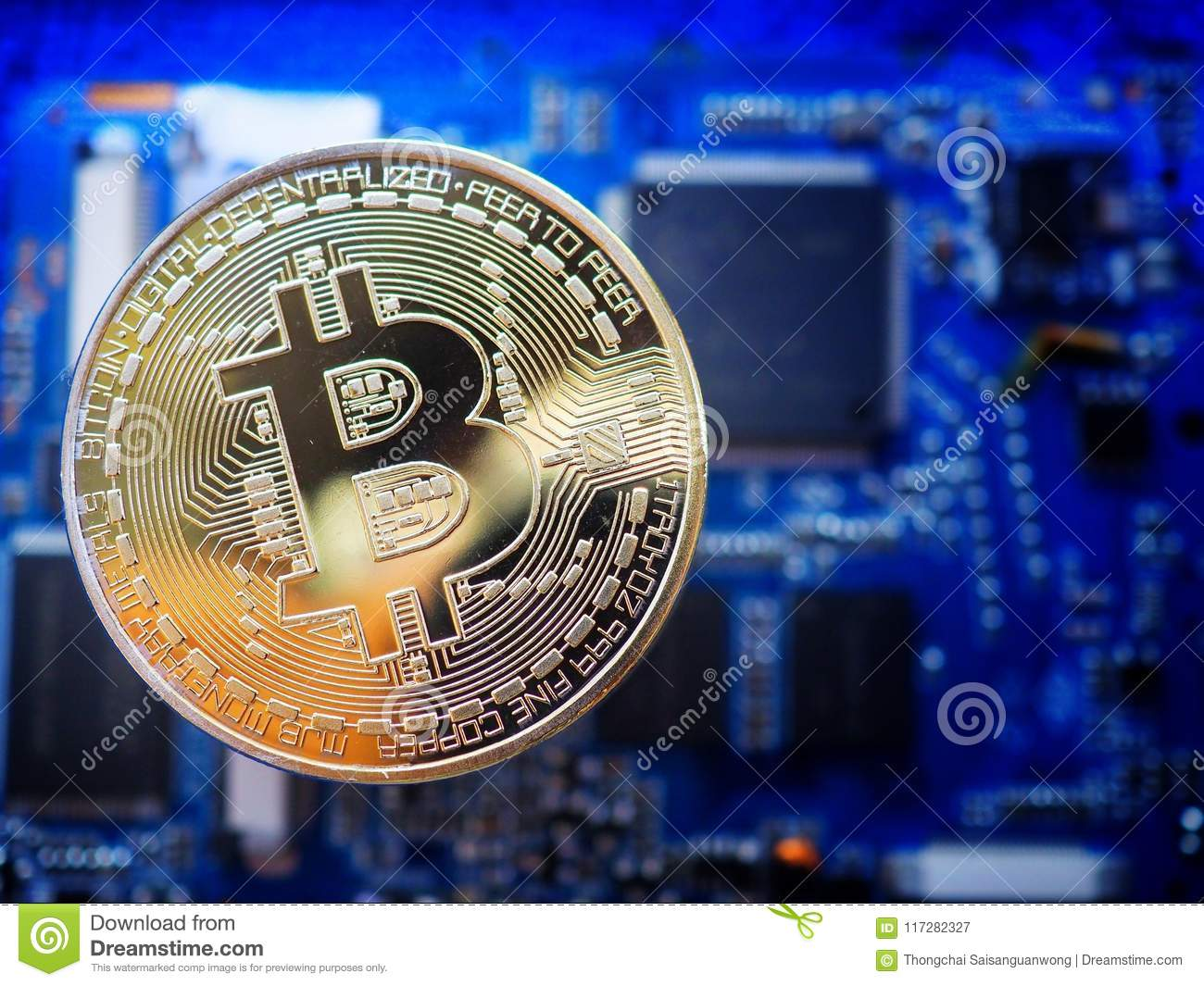 Golden Bitcoin On The Circuit Board Or Computer Motherboard With Is Main Of Your And Also Concept Technology