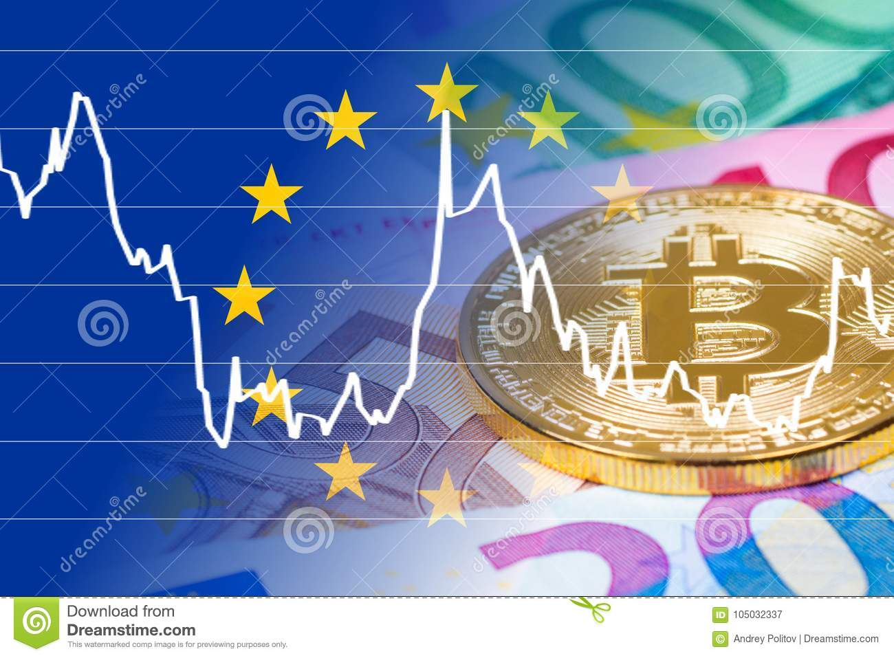 Golden bitcoin coin with euro banknotes and currency exchange