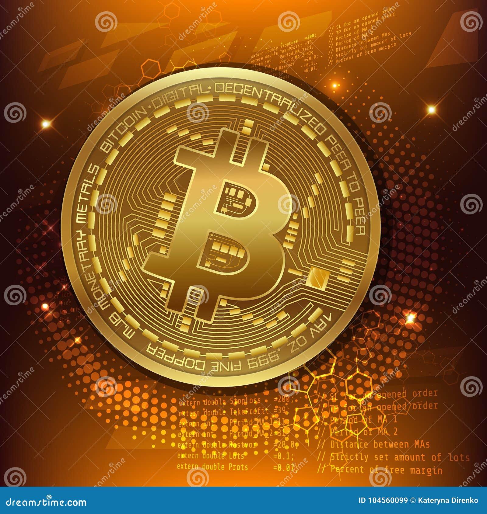 Golden Bitcoin Digital Currency, Futuristic Digital Money