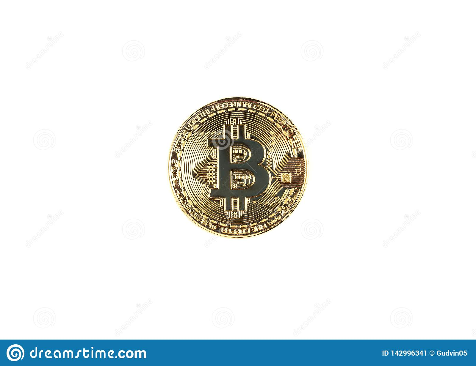 Golden bitcoin oisolated on white background.