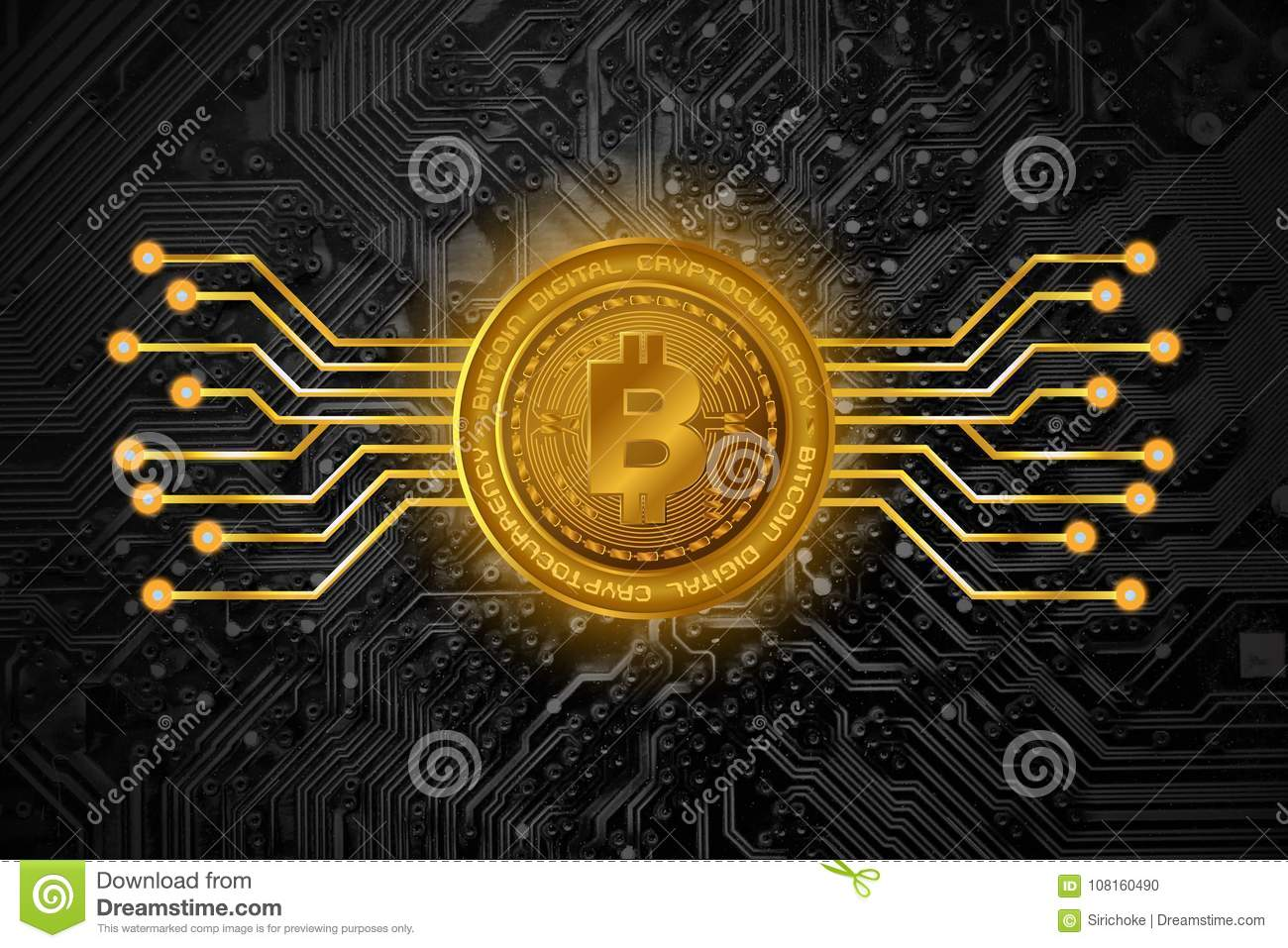 Golden Bitcoin Symbols On Print Circuit Board Background Stock