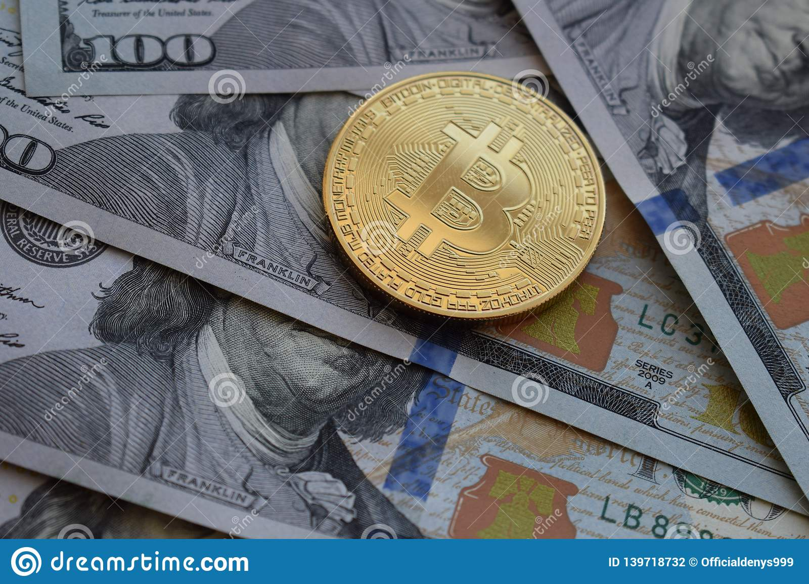 Golden Bitcoin On US Dollars. Digital Currency. Crypto ...