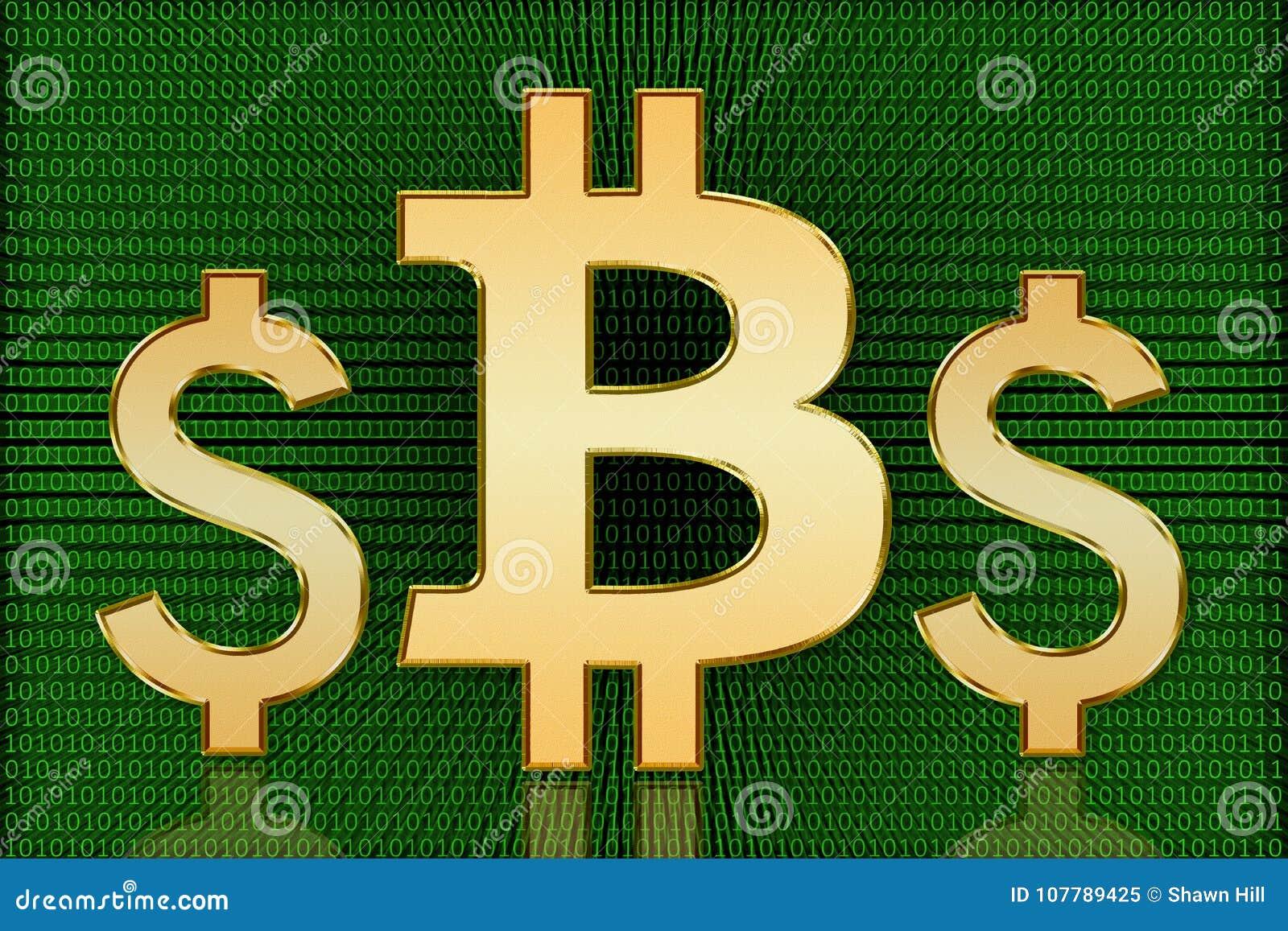 Golden Bitcoin Vs Us Dollar Symbols Digital Currency Stock