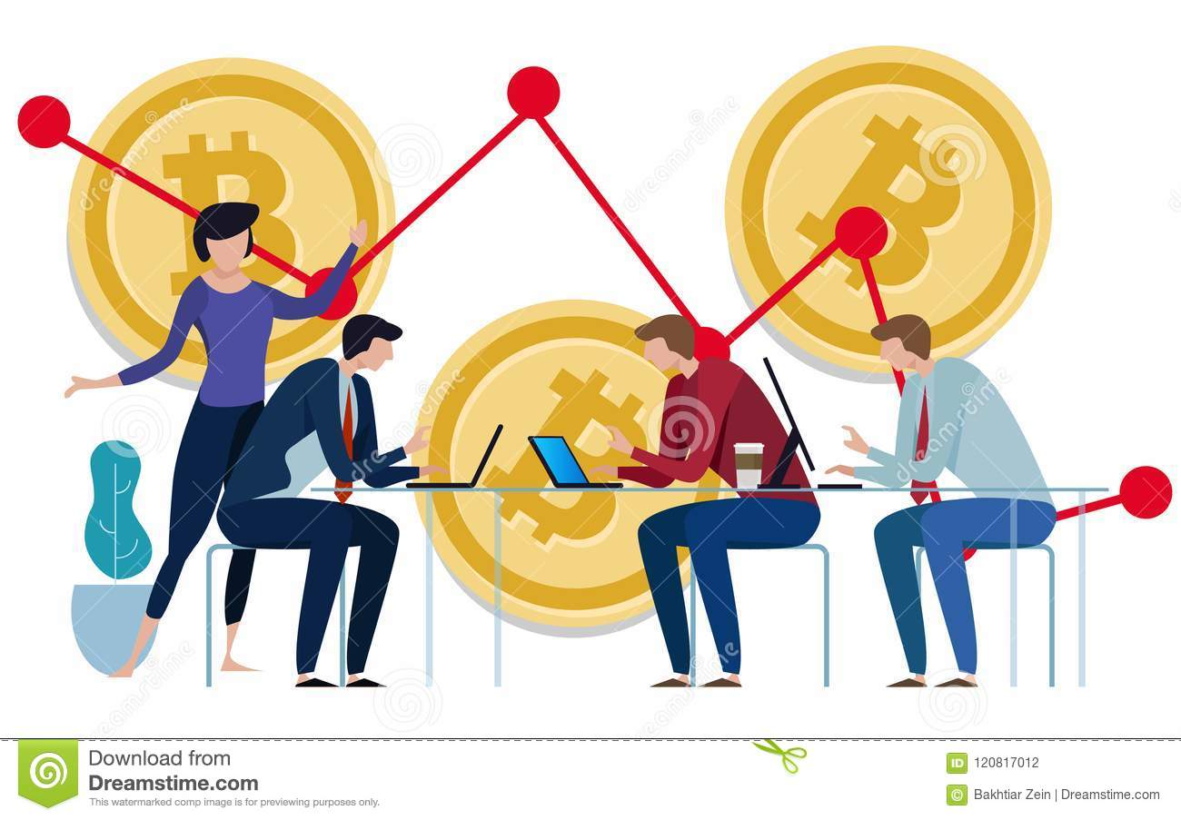 Golden Bitcoins chart down background. Graph of the negative growth of price. team work on investment management