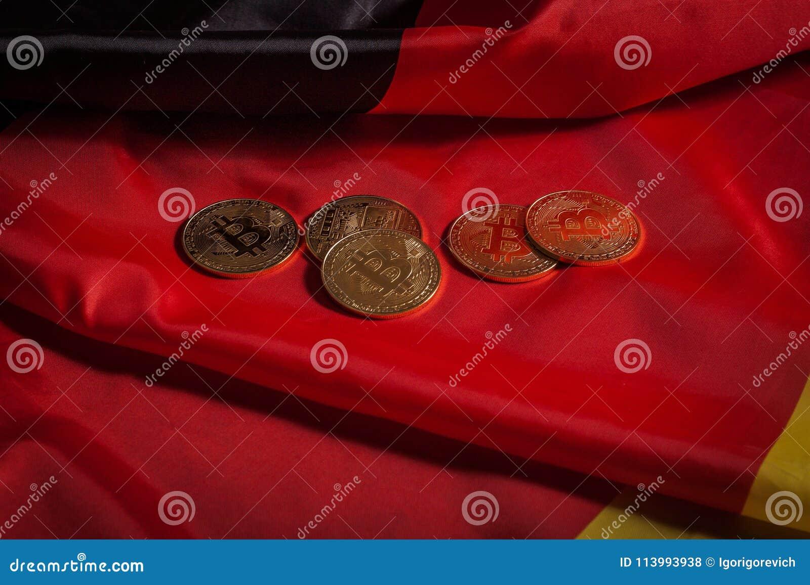 Golden Bitcoins On German Flag Stock Photo Image Of Golden