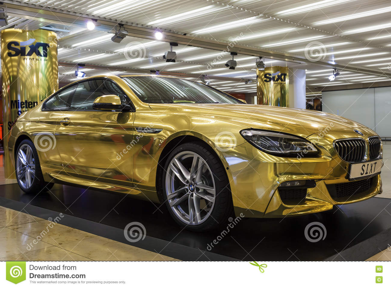 Golden Bmw At The Frankfurt Airport Editorial Photo