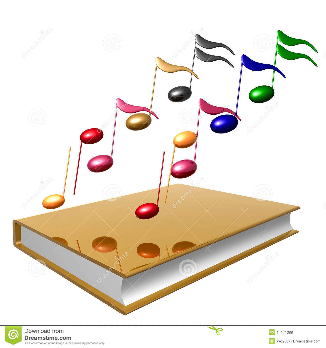 Golden Book And Colorful Music Notes Icon Royalty Free Stock Photos ...