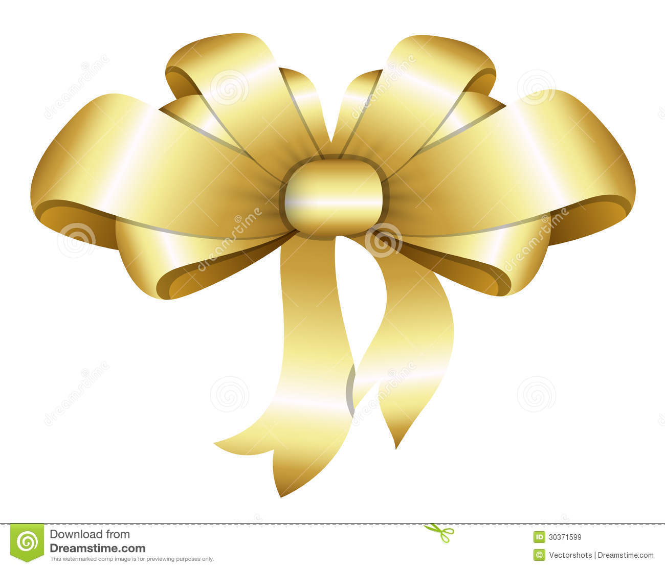 Golden Bow Christmas Vector Illustration Royalty Free