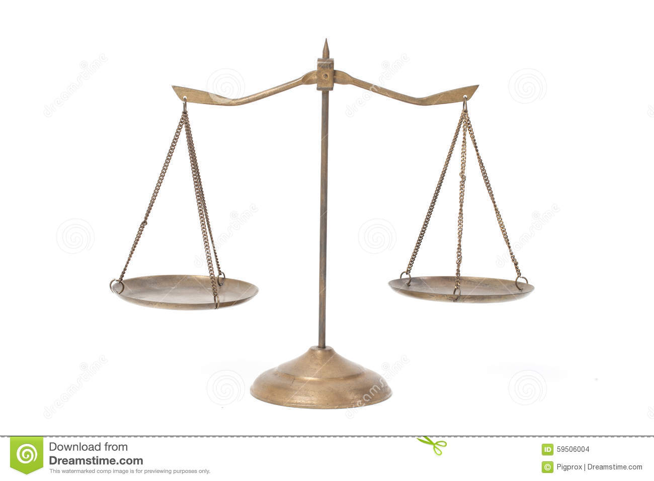 Golden brass scales of justice