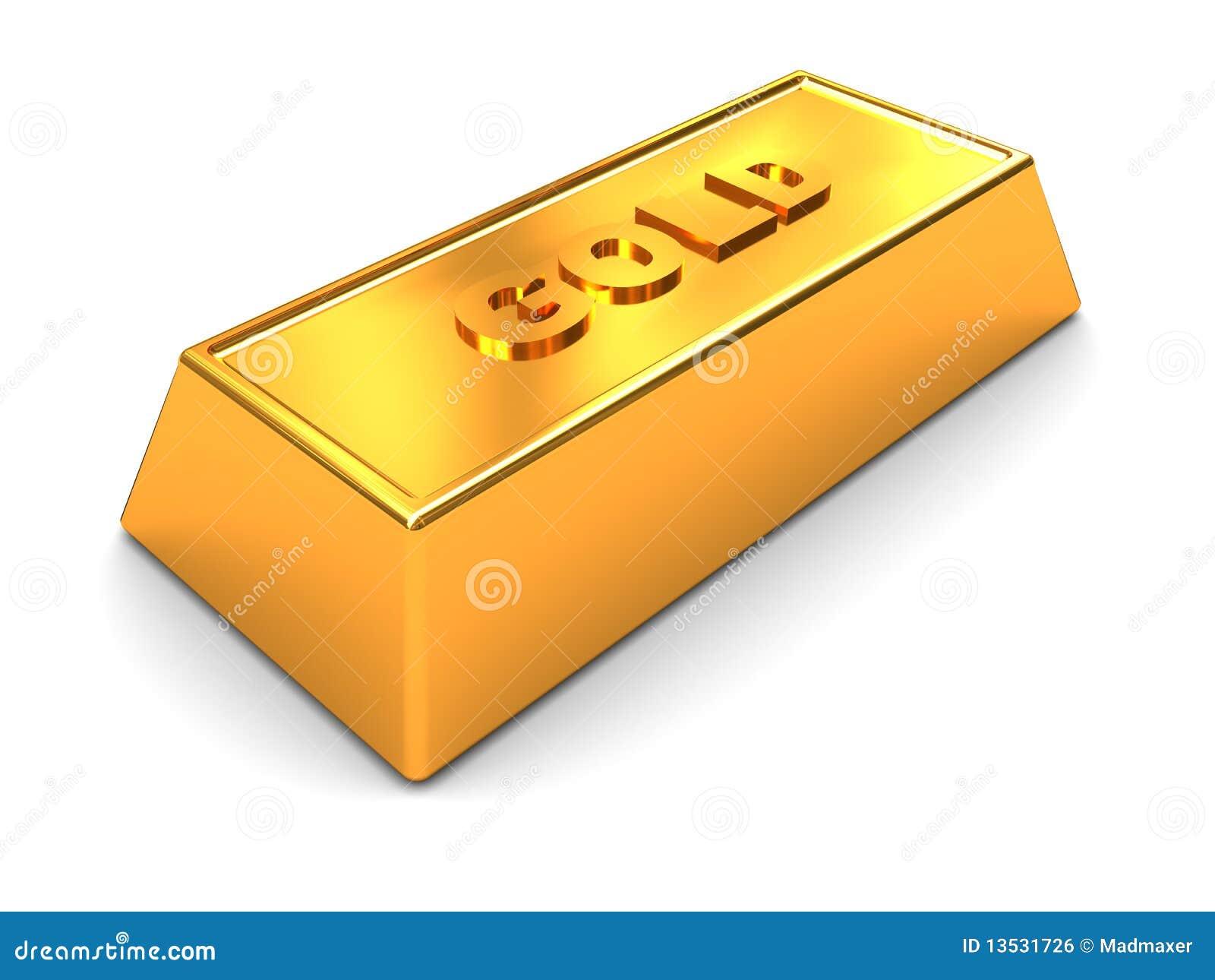 Golden Brick 3d Illustration Of Single Over White Background Royalty Free Stock Image