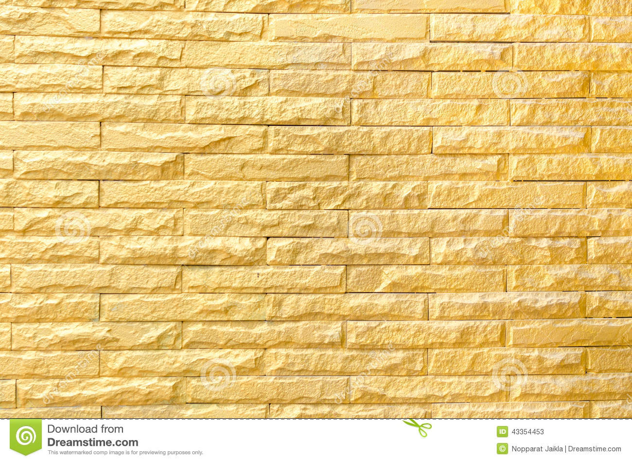 Golden Brick Wall Background Pattern Texture Stock Photo
